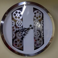 Jam Dinding Roda Mekanikal Wall Gear Clock Mechanical with Glass