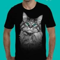 Jual t shirt baju kaos 3d hewan kucing cat distro terlaris Murah