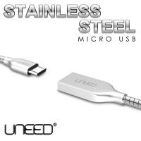 Jual UNEED CABLE DATA STAINLESS STEEL - MICRO USB (UCB12M) - FAST & SYNC Murah
