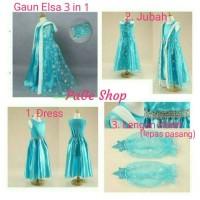 Gaun Elsa Frozen 3 in 1/ dress baju pesta impor