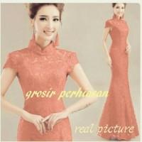 Jual dress jumbo bigsize / full brokat gaun pesta merah  / shanghai BAGUS Murah