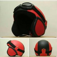Helm Murah Helm Bogo Kulit Kacamata Goggle Merah Kombinasi Hitam