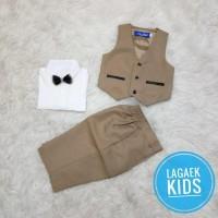 setelan vest tuxedo COKLAT GOLD bayi bulan - 4 tahun/vest premium GOLD