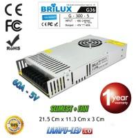 Power Supply 5V Running Text 60A Slim + Fan 1 Tahun - BRILUX