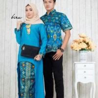 kebaya batik couple muslim biru model terbaru,batik pasangan