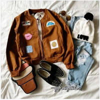 Explore bomber brown / jaket coklat wanita / grosir jaket badung murah