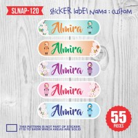 sticker label nama anak kartun girl cute bunga muslimah SLNAP-120