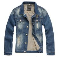 Kasual Pria Dengan Jeans Robek Denim Biasa Jaket Mantel