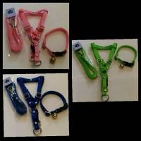 1 set kalung lonceng + harness badan + tali tuntun 1 cm anjing kucing