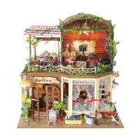 Jual kado hadiah Rumah Miniatur DIY Cafe Hutan Lampu LED & Music Box Murah