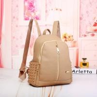 tas coklat khaki import backpack anak ransel cantik murah korea elegan