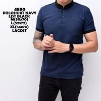 Jual Polo Shirt Pria | Kaos Cowok Baju Shanghai Black Mix Navy Distro Murah