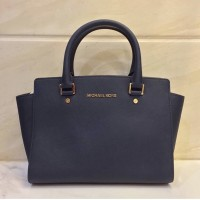 MK Selma Medium Navy Satchel Bag