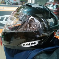 Helm INK Adventure Black Solid Fullface Flip Up Hitam Glossy