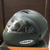 Helm INK Adventure Black Doff Fullface Flip Up Hitam Doff Dop