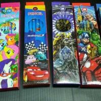Pensil raut gambar avenger, miki , frozen , helo kitty , cars
