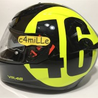 HELM AGV K3 SV BOLLO BLACK YELLOW 46 ROSSI DOUBLE VISOR FULL FACE
