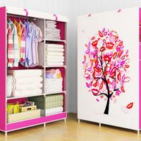 Lemari pakaian multifungsi dengan cover motif TREE & BEAR murah HPR079
