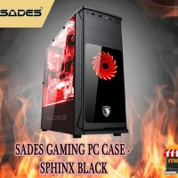 Sades Gaming PC Case - SPHINX BLACK casing komputer