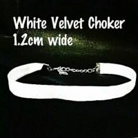 Jual White Velvet Choker Plain Murah