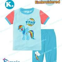 Jual Baju Anak Piyama Little Pony Biru Bordir Murah