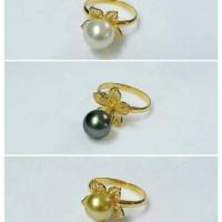 Cincin emas bunga kendari+mutiara laut