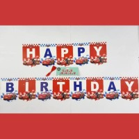 Bunting Flag Happy Birthday Cars/ Banner HBD Karakter Cars Mobil
