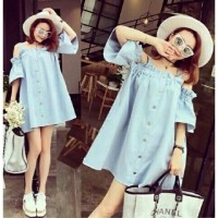 Jual Dress Sabrina Denim Big Size Murah