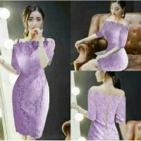 dress pendek brukat / mini dress purple brokat meymey sabrina style