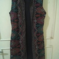 Jual Black ethnic long vest Murah