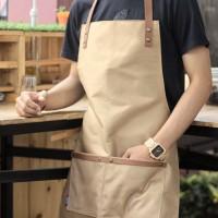 Apron Canvas Synthetic Leather Celemek masak dapur Barista unik murah