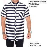 Jual kemeja pria salur lengan pendek 4 tone / baju cowok salur stripe slim Murah