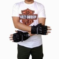 Jual Sarung Tangan Kulit Asli Premium Half Finger Harley Davidson (Black) Murah