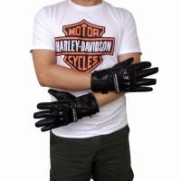 Sarung Tangan Batok Full Finger Kulit Asli Harley Davidson (black)