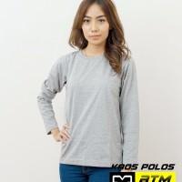 Kaos Polos Cotton Combed 20s Lengan Panjang Size XL-Putih & Misty