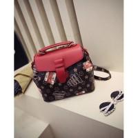 Tas Ransel Backpack Coklat Wanita Fashion Sporty Pergi Kuliah Slempang