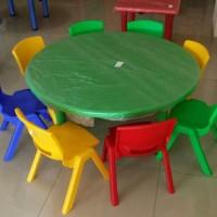Meja kursi belajar, KB, TK, PAUD plastik Bentuk Bulat 110 cm