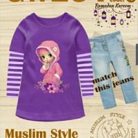 BIG size GW 251 G purple muslim girl set jeans