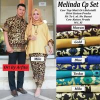 Baju Batik Modern Kebaya Couple Muslim kemeja Pria melinda set L XL