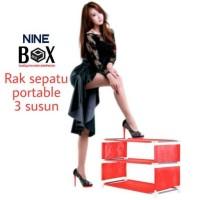 Rak Portable NINE BOX Serbaguna type w3/rak sepatu 3 SUSUN