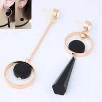 Jual KE48145 Anting Gemstone Hitam Gold Murah