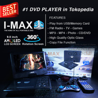 DVD Portable Player i-Max 3D LCD Rotate 9,8 inch, FM Radio , TV , Game