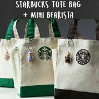 Starbucks Tote Bag with sidepocket & mini bearista