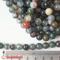 Manik Batu Alam Natural Indian Agate 8 mm - Kalung / Gelang Rosario