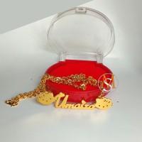 Kalung ukir nama lapis emas - motif hellowkity- perhiasan Custom nama