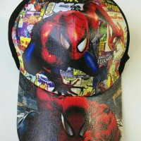 Topi Anak Karakter Spiderman Komik Hitam