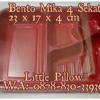 Mika Bento Sekat 4 Merah/Tray Bento/Box Bento/Food Container