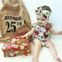 Jual Jumpsuit bayi import floral print bandana set # white red Murah