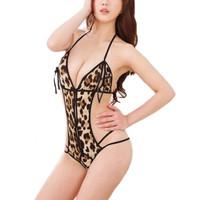 Jual Sexy Lingerie Babydoll Bra Set Leopard Murah