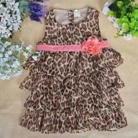 Gaun Baby Newborn Dress Leopard Model Tumpuk 0-6 Bulan